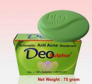 Deo Sulphur Transparent Soap Green 75gr Sabun Untuk Jerawat Membandel