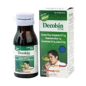 Obat flu sakit tenggorokan dan batuk Decolsin Cap Str 4'S